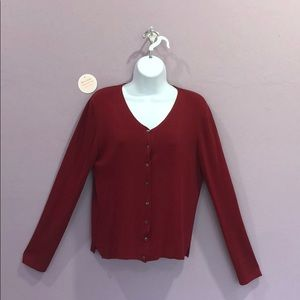Lord & Taylor Cardigan Red Ribbed Silk Sweater MP